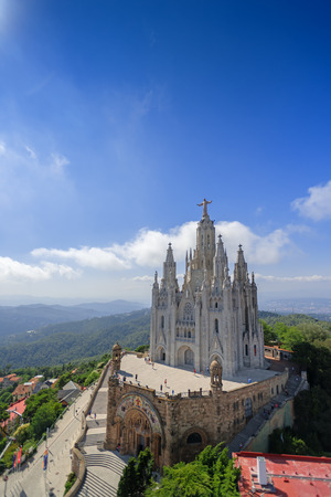 sagrat cor: Tibidabo church Expiatori del Sagrat Cor with christ statue on mountain in Barcelona, Spain Stock Photo