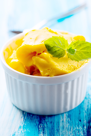 sherbet: Passion fruit sherbet with mint leaves