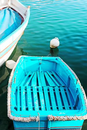 dingy: Tiny blue dingy at Malta