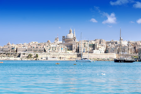 Valletta skyline with the St. Pauls Cathedral Stock Photo
