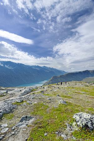 Backpackers at Besseggen ridge at Jotunheimen national park, Norway Stock Photo