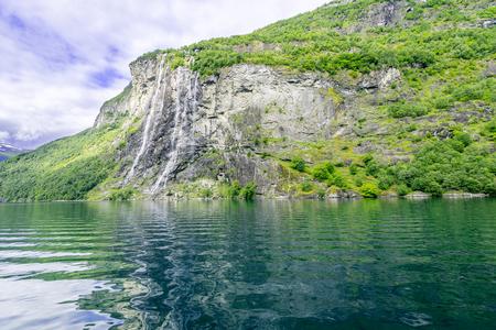 Waterfalls at Geiranger fjord Norway