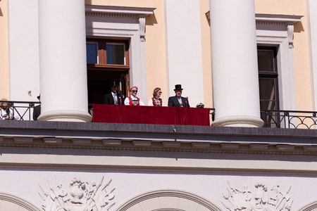 17th: Oslo, Norway, 17th May 2014: National day in Norway. Royal family greeting Norwegians from Royal house balcony