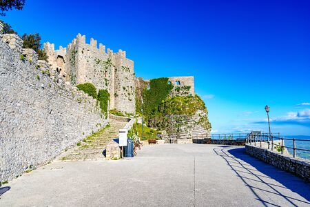 Ruined walls of Norman Castle called Venus Castle in Erice, small town located on a mountain near Trapani city, Sicily Island in Italy