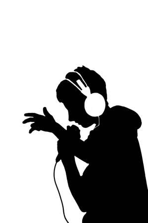 rap music: Black silhouette of young man with microphone Stock Photo