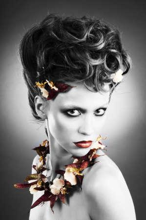 floristic: Attractive fashion model portrait with floristic necklace.
