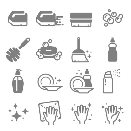 Set of Cleaning graphic design elements  Line Icons.