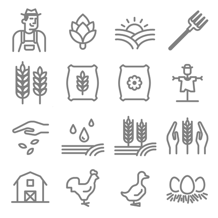 Set of Agriculture and Farming Line Icons. Vettoriali