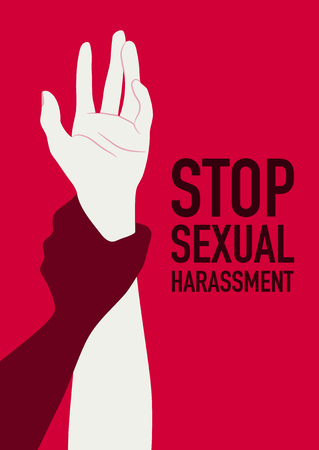 Stop sexual harassment poster with a hand holding another arm