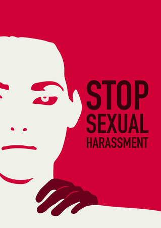 Stop sexual harassment poster with a face and hand