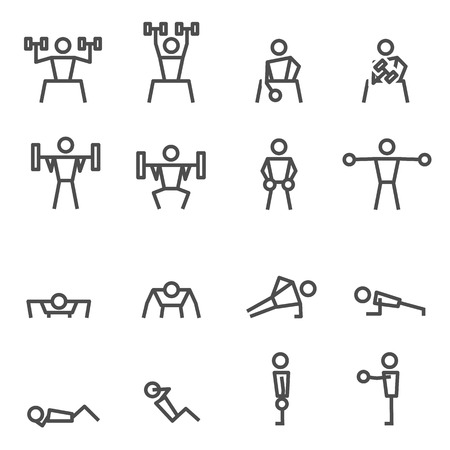 Exercise Fitness workout weight training bodybuilder in gym vector icon set