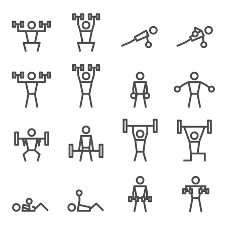 Exercise workout fitness weight training vector icon Illustration