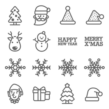 Vector Line Icon Set. Contains such Icons as Snowflake, Elf, Snowman, Santa Claus, Christmas Hat, Gift and more. Stock Illustratie