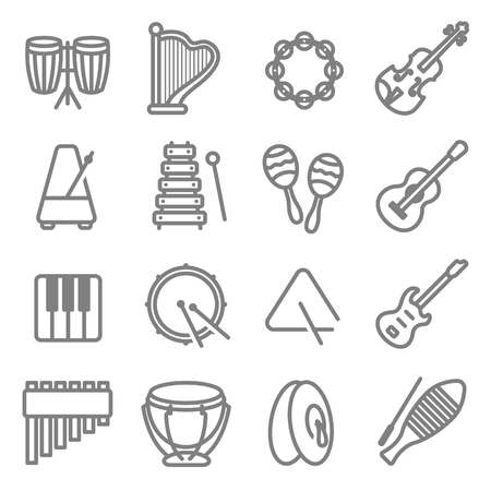 Music Instrument Vector Line Icon Set. Contains such Icons as Drum, Triangle, Guitar, Keyboard, Metronome, Tambourine and more.