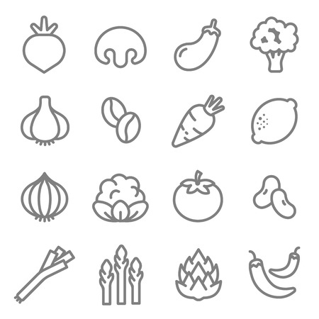 Vegetable ingredients line icon vector set. Including Carrot, Tomato, Chilies, Asparagus, Artichokes, Onion, Radish and more