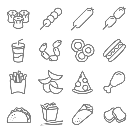 Fast food vector line icon set. Including Chinese noodle box, Taco, nuggets, chips, Rolls, Soft drink and more