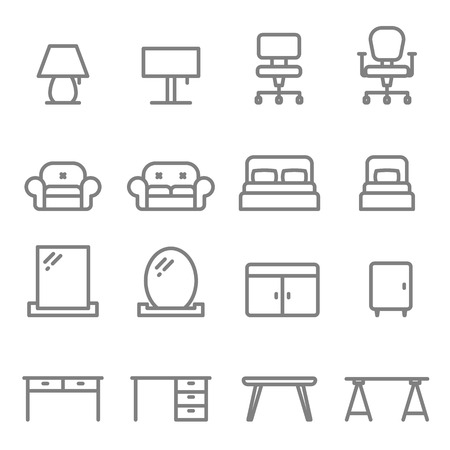 Furniture vector line icon set. Including sofa, bed, lamp, chair, mirror, table, desk