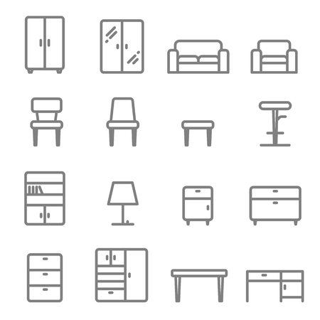 Furniture vector line icon set. Including sofa, lamp, table, chair, stool, wardrobe