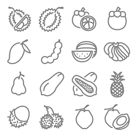 Asia Thai Fruits Related Vector Line Icons. Contains such Icons as Durian, Papaya, Watermelon, Banana and more