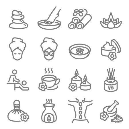 Icônes de ligne vectorielles liées au massage spa. Contient des icônes telles que la bougie aromatique, le massage des pieds, le diffuseur et plus encore. Course étendue.