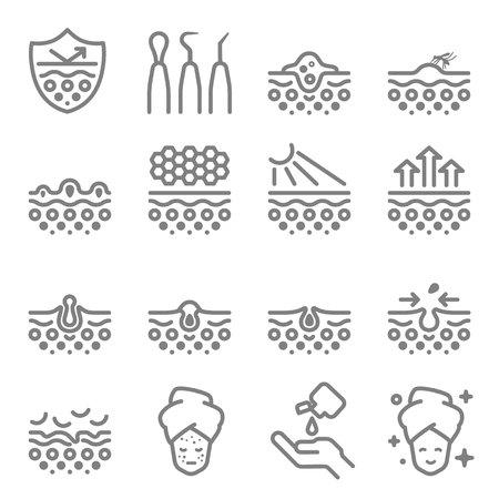 Icônes De Ligne De Vecteur De Soins De La Peau. Contient des icônes telles que l'acné, la peau sèche, le traitement, le bouton, l'équipement et plus encore. Course étendue.