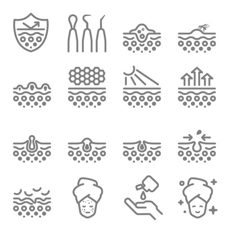 Skin Care Vector Line Icons. Contains such Icons as Acne, Dry Skin, Treatment, Pimple, Equipment and more. Expanded Stroke.