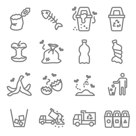 Garbage Vector Line Icon Set. Contains such Icons as Banana Peel, Fishbone, Eggshell, Trash and more. Expanded Stroke Ilustração