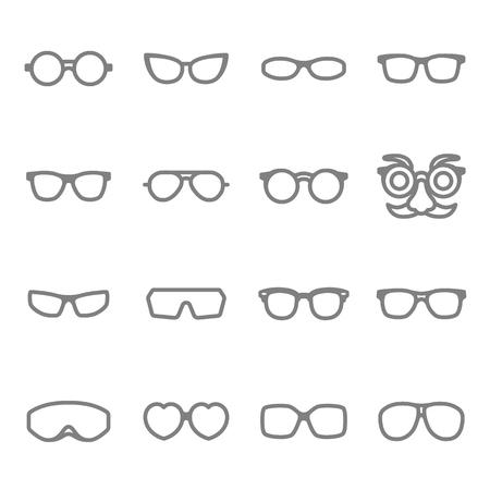 Glasses vector line icon set
