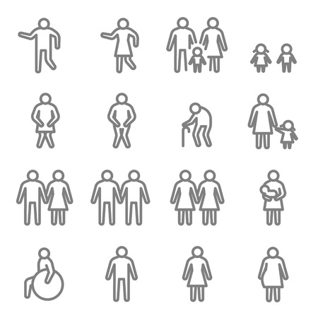 Menschliches Piktogramm Vektor Symbol Leitung Set. Enthält Symbole wie Mama, Baby, Deaktivieren, LGBT und mehr. Erweiterter Hub