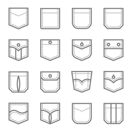 Patch Pocket Style Vektor Symbol Leitung Set. Enthält Symbole wie Original Pocket, Denim, Traditional, Flap und mehr. Erweiterter Hub Vektorgrafik