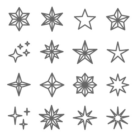 Star Vector Line Icon Set. Contains such Icons as Decoration, Badge, Wink and more. Expanded Stroke