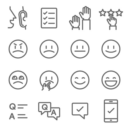 Survey Vector Line Icon Set. Contains such Icons as Emoji, Emoticon, Quiz and more. Expanded Stroke Ilustracja