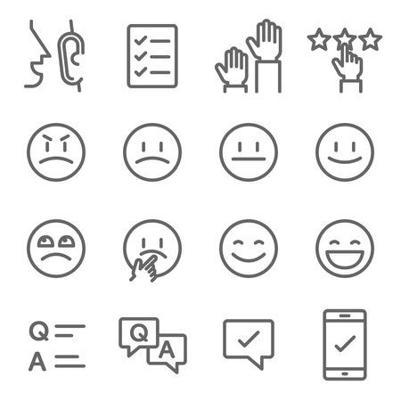 Survey Vector Line Icon Set. Contains such Icons as Emoji, Emoticon, Quiz and more. Expanded Stroke Ilustração