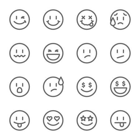 Smiley Face Vector Line Icon Set. Contains such Icons as Happy, Cheeky, Emoji and more. Expanded Stroke Ilustração