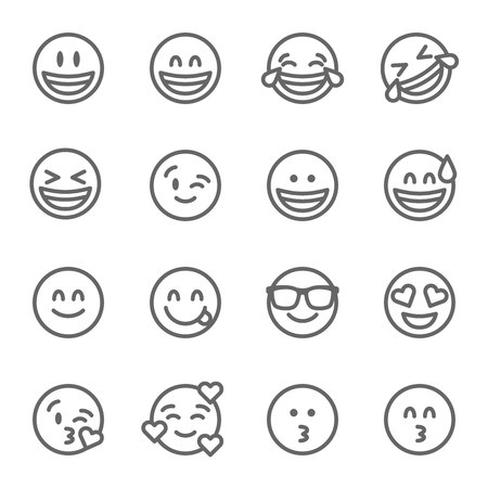 Emoji Vector Line Icon Set. Contains such Icons as Grinning Face, Smiling Face , Savoring Face and more. Expanded Stroke Illustration