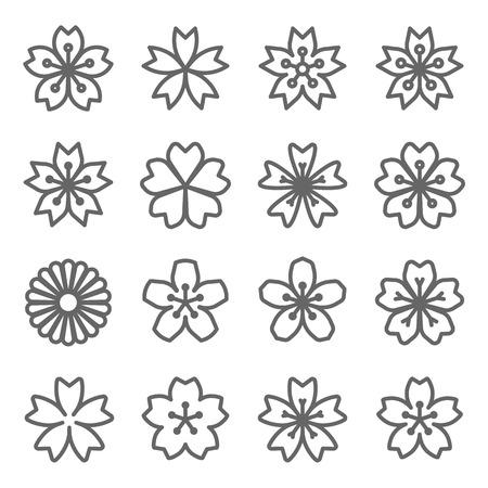 Sakura Cherry Blossom Japan Flower Vector Line Icon Set. Expanded Stroke Ilustração