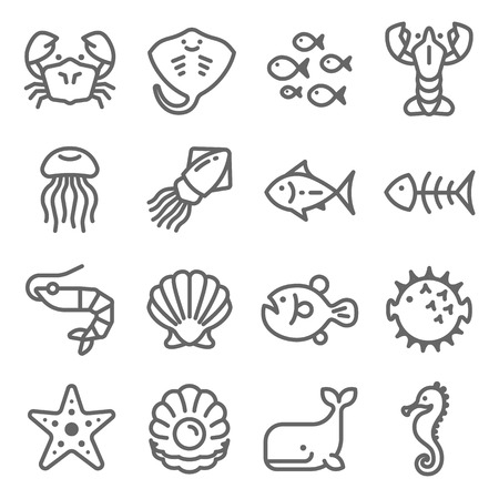 Sea Life Vector Line Icon Set. Contains such Icons as Octopus, Seahorse, Puffer Fish, Pearl and more. Expanded Stroke Ilustração