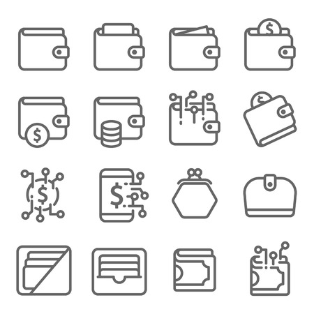 Wallet Vector Line Icon Set. Contains such Icons as Digital Asset, Card Bag, Coin, Purse and more. Expanded Stroke