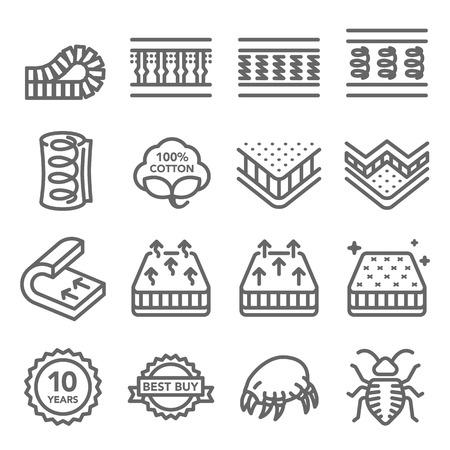 Conjunto de iconos de línea de vector de colchón. Contiene iconos como algodón, ácaros del polvo, chinches, capa interior y más. Carrera expandida