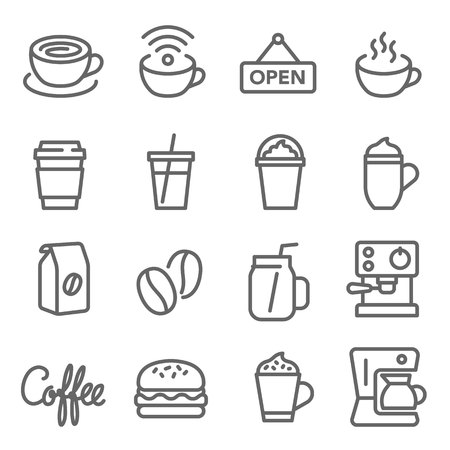 Coffee Cafe Vector Line Icon Set. Contains such Icons as Hamburger, Coffee Machine, Beans, Hot, Cold, Blended and more. Expanded Stroke