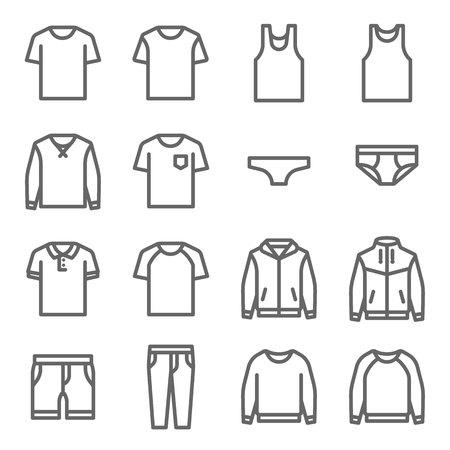 Clothes Vector Line Icon Set. Contains such Icons as Underwear, T-shirt, Coat, Jacket, Pants and more. Expanded Stroke