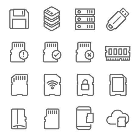 Memory Card Vector Line Icon Set. Contains such Icons as Thumb drive, Wifi SD Card, Database, Ram, Cloud and more. Expanded Stroke