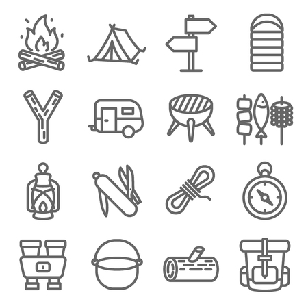 Camping Vector Line Icon Set. Contains such Icons as Caravan, Sleeping Bag, Tent, Binoculars, Backpack and more. Expanded Stroke