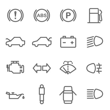 Car Dashboard Vector Line Icon Set. Contains such Icons as Parking, ABS, Battery, Engine, Mechanic and more. Expanded Stroke Ilustração