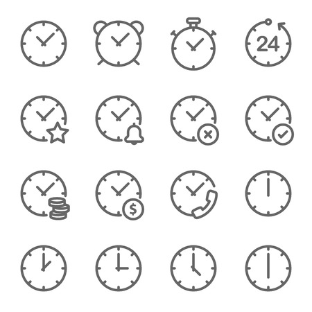 Time Vector Line Icon Set. Contains such Icons as Alarm, Timer, Clock, Schedule and more. Expanded Stroke Ilustração