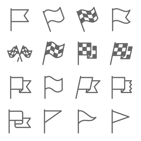 Flag Sign Vector Line Icon Set. Contains such Icons as Flagpole, Start Flag, Race, Winner and more. Expanded Stroke Ilustração