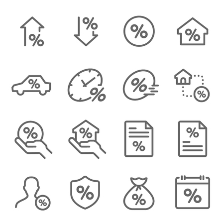 Loan Payment Vector Line Icon Set. Contains such Icons as Interest Rate, Investment Plan, Finance and more. Expanded Stroke