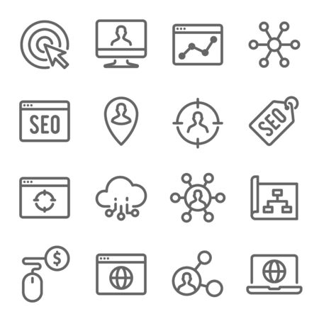 SEO Technology Line Icon Set. Contains such Icons as Website SEO, Search, Search and more. Expanded Stroke