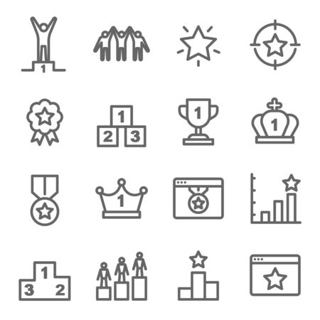 Ranking Icon Set. Contains such Icons as Crown, Success, Winner and more. Expanded Stroke