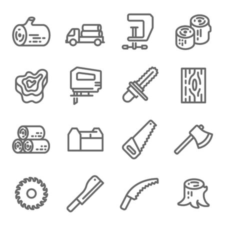 Wooden Icon Set. Contains such Icons as Chainsaw, Log, Axe and more. Expanded Stroke